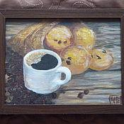 """Картины и панно ручной работы. Ярмарка Мастеров - ручная работа Картина """"Натюрморт с кофе и печеньем"""". Handmade."""