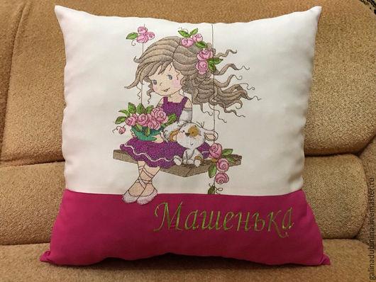 Текстиль, ковры ручной работы. Ярмарка Мастеров - ручная работа. Купить декоративная подушка Именная для девочки. Handmade. Комбинированный, для девушки