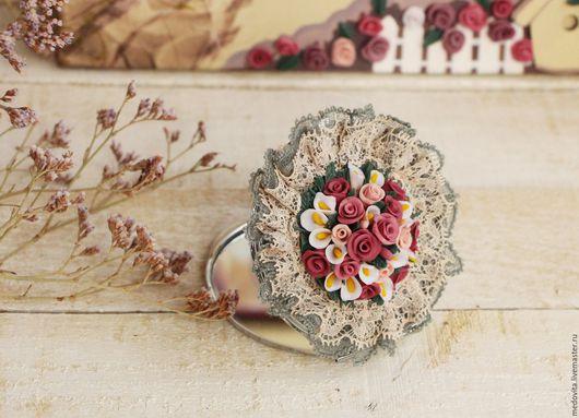 """Декорированные зеркальца ручной работы. Ярмарка Мастеров - ручная работа. Купить Зеркало """"Букет роз"""". Handmade. Комбинированный, зеркало"""