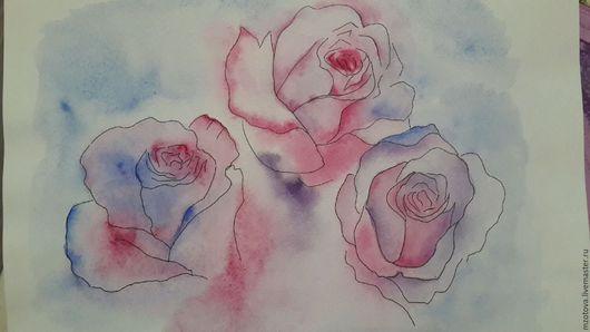 Картины цветов ручной работы. Ярмарка Мастеров - ручная работа. Купить Аромат роз. Handmade. Роза, чайная роза, рисунок