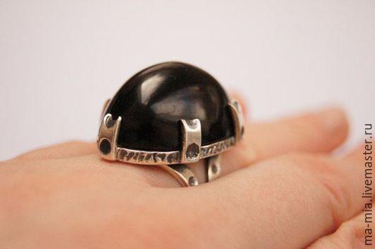 Кольца ручной работы. Ярмарка Мастеров - ручная работа. Купить кольцо Таинственный замок.Гагат. Handmade. Черный, кольцо с гагатом