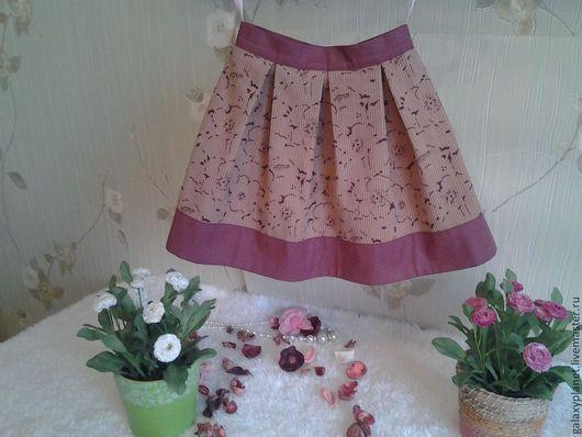 Одежда для девочек, ручной работы. Ярмарка Мастеров - ручная работа. Купить Юбка детская в складку вельветовая бежево-бордовая с цветами. Handmade.