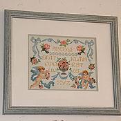 """Картины и панно ручной работы. Ярмарка Мастеров - ручная работа вышитая картина """"Алфавит"""". Handmade."""