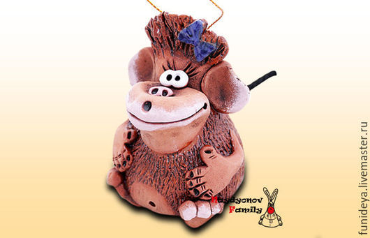"""Колокольчики ручной работы. Ярмарка Мастеров - ручная работа. Купить """"Обезьяна"""" -  символ 2016 года. Handmade. Обезьяна, обезьяна в дар"""