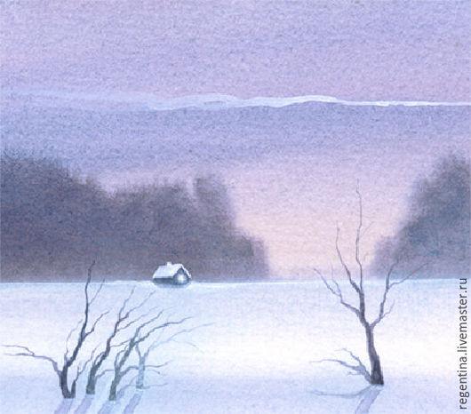 Пейзаж ручной работы. Ярмарка Мастеров - ручная работа. Купить opus 1. Handmade. Бледно-сиреневый, пейзаж акварелью, домик
