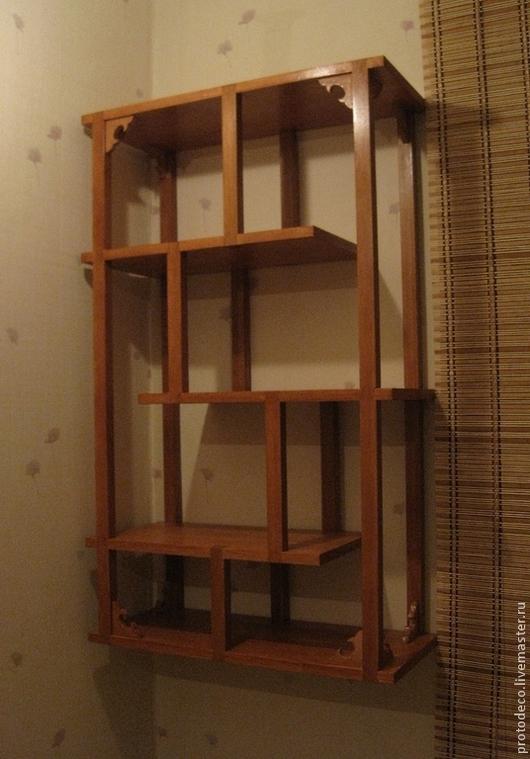 Мебель ручной работы. Ярмарка Мастеров - ручная работа. Купить Полка для книг или сувениров деревянная в японском стиле. Handmade.