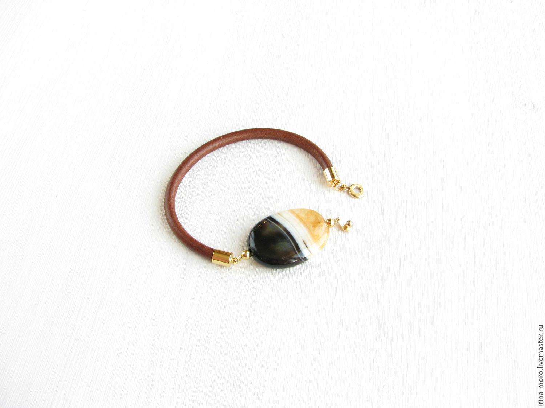 Irina Moro.   Irene Moreau. Fashionable, designer bracelet `Coffee and caramel` brown leather cord 2017. Bracelet with agate. Women's leather bracelet. Brown bracelet.