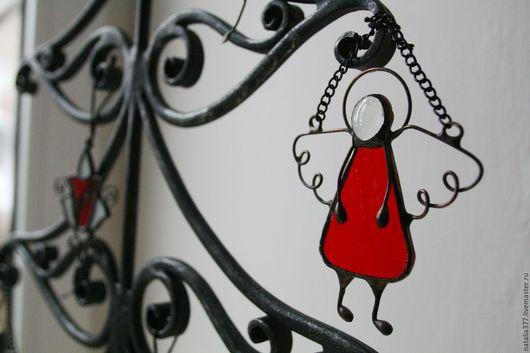 Элементы интерьера ручной работы. Ярмарка Мастеров - ручная работа. Купить Витражный ангелок. Handmade. Ярко-красный, витражный ангел