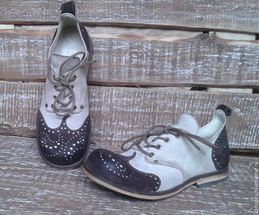 Обувь ручной работы. Ярмарка Мастеров - ручная работа. Купить Кожаные ботинки Vice Versa Paisley. Handmade. Белый