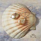 Украшения handmade. Livemaster - original item Copy of Elegant Laconic Golden Lavender Baroque Kasumi Pearl Earrings. Handmade.