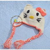 Работы для детей, ручной работы. Ярмарка Мастеров - ручная работа вязаная зимняя  шапка Hello Kitty. Handmade.