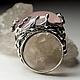Серебряное кольцо с натуральным природным розовым кварцем в оправе из серебра 925 пробы, размер вставки около 10 х16 х 21 мм, доступные размеры колец -  16.5, 19, средний вес изделия 9.36 грамм