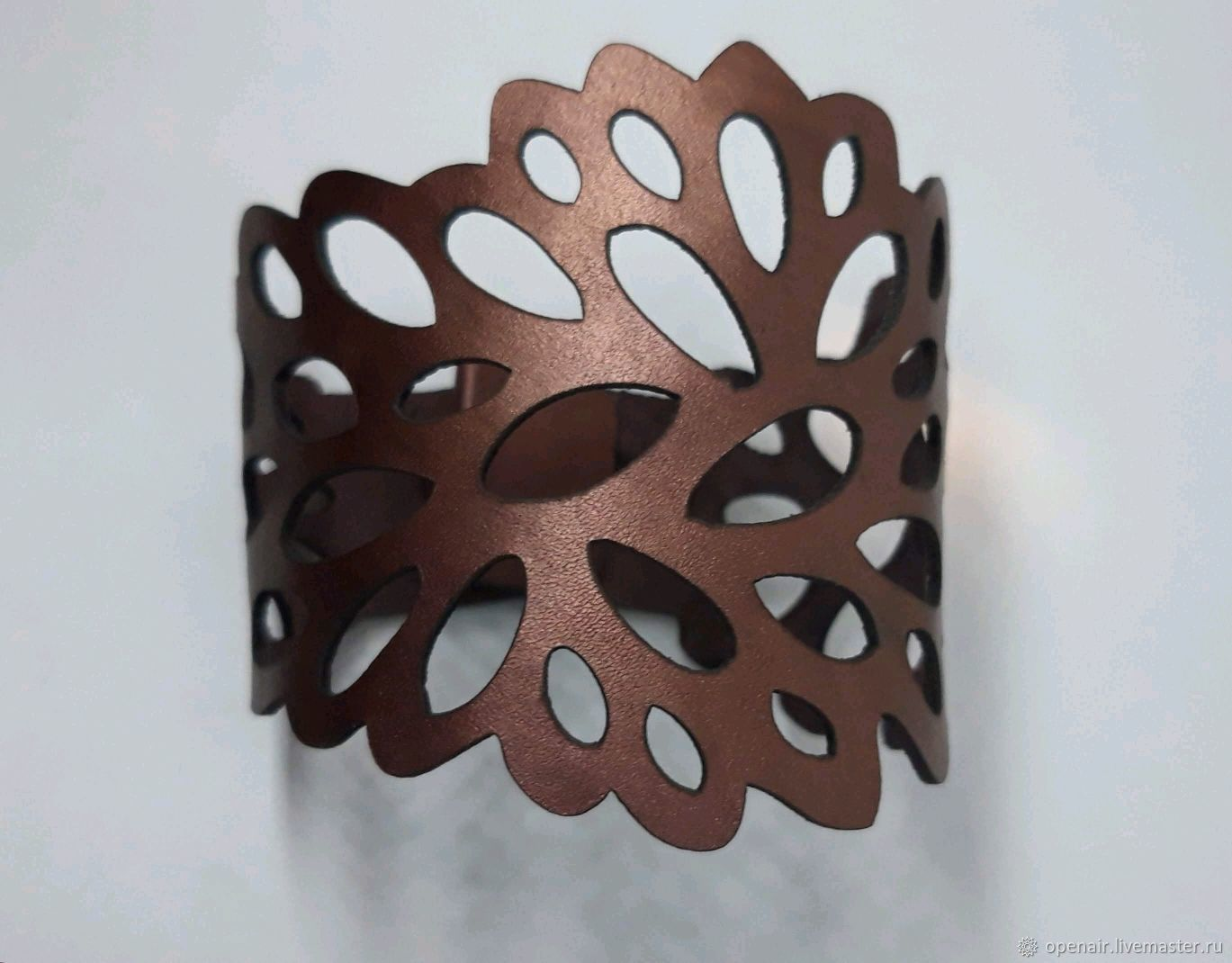 Openwork leather bracelet. Wine color with mother of pearl, Cuff bracelet, St. Petersburg,  Фото №1
