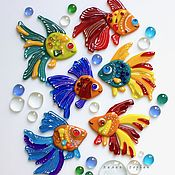 Дизайн и реклама ручной работы. Ярмарка Мастеров - ручная работа декор из стекла, фьюзинг  Рыбёшка. Handmade.