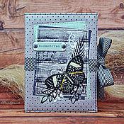 "Канцелярские товары ручной работы. Ярмарка Мастеров - ручная работа Блокнот ""Волшебная мятная бабочка"". Handmade."