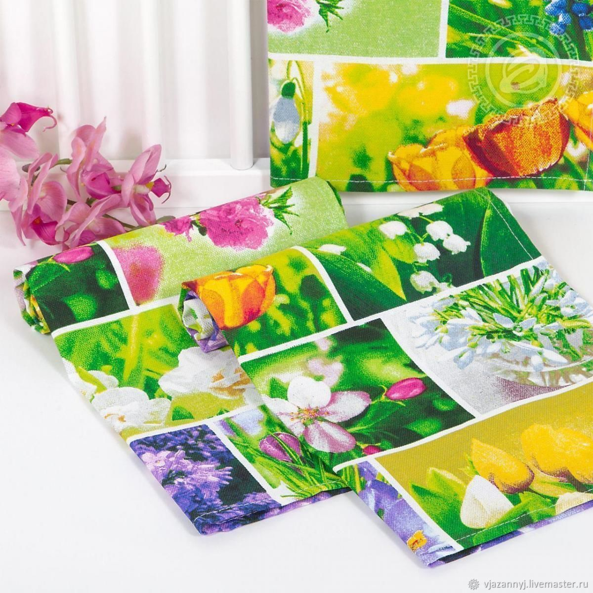 Spring, bright towel made of matting Primroses, Towels, Moscow,  Фото №1