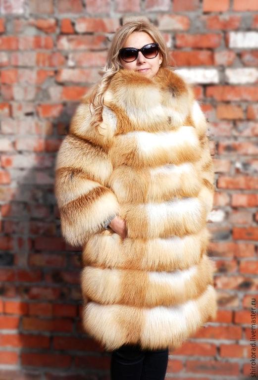 Верхняя одежда ручной работы. Ярмарка Мастеров - ручная работа. Купить Шуба из меха  рыжей лисы.Поперечная,с воротником.. Handmade.