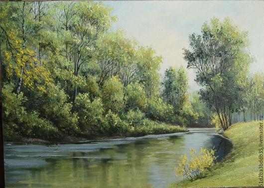 Пейзаж ручной работы. Ярмарка Мастеров - ручная работа. Купить На реке . Лето.. Handmade. Зеленый, картина, картина в подарок