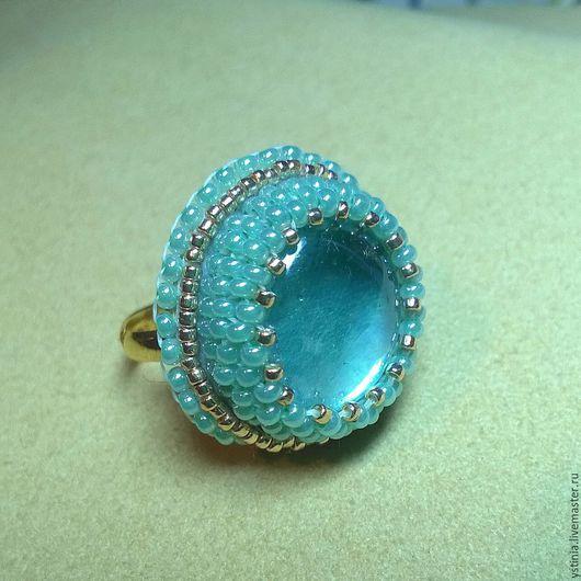 Кольца ручной работы. Ярмарка Мастеров - ручная работа. Купить Перстень. Handmade. Бирюзовый, кольцо, стекло, подарок девушке