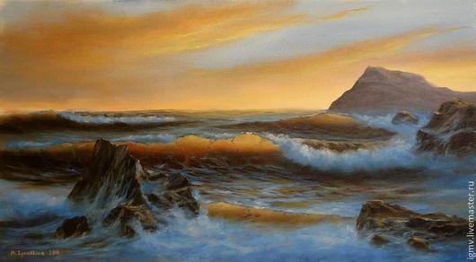 """Пейзаж ручной работы. Ярмарка Мастеров - ручная работа. Купить Картина маслом морской пейзаж """"Оранжевый закат"""". Handmade."""