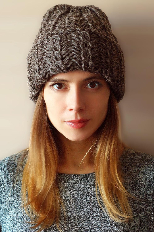 Вязан шапка с отворотом