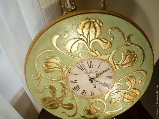 Часы для дома ручной работы. Ярмарка Мастеров - ручная работа. Купить Настенные часы Ода Ирису. Handmade. Оливковый, часы