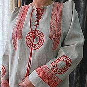 """Одежда ручной работы. Ярмарка Мастеров - ручная работа Блуза из льна с ручной верховой набойкой  """" Русский стиль"""". Handmade."""