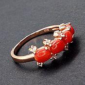 Украшения handmade. Livemaster - original item Silver ring with coral, p. .19,5, . Handmade.
