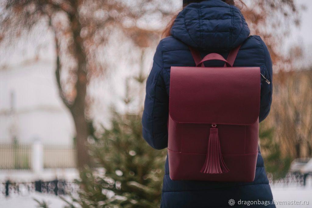 Women's leather backpack 'Vegas' (Burgundy), Backpacks, Yaroslavl,  Фото №1
