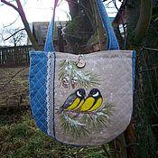 Сумки и аксессуары handmade. Livemaster - original item Linen quilted bag with painted and embroidered Titmice eco Bag. Handmade.