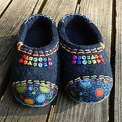 """Обувь ручной работы. Ярмарка Мастеров - ручная работа Тапки валяные домашние """"Радуга"""". Handmade."""