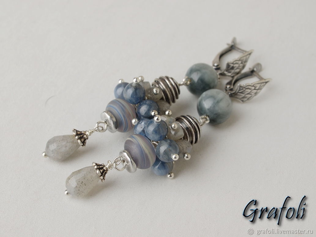 Long earrings with kyanite and silver, Earrings, Moscow,  Фото №1