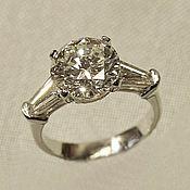 Украшения handmade. Livemaster - original item Platinum ring with 4 ct diamond. Handmade.