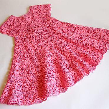 Работы для детей, ручной работы. Ярмарка Мастеров - ручная работа Вязаное крючком платье для девочки, детское платье вязаное, нарядное п. Handmade.