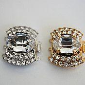 Замочек ювелирный с крупным кристаллом, 3 нити, пр-во Германия