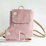 Рюкзаки ручной работы. Ярмарка Мастеров - ручная работа Стильный комплект рюкзак и поясная сумка. Пыльный розовый. Handmade.