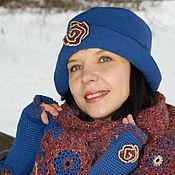 Аксессуары handmade. Livemaster - original item Women`s hat warm blue with large brim for spring. Handmade.