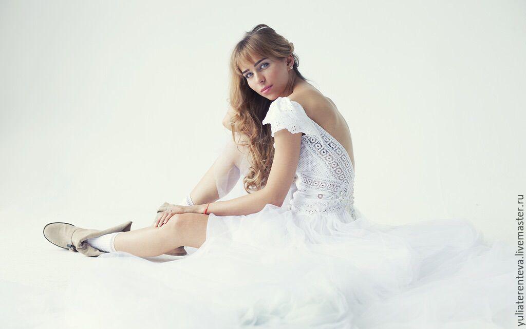 4904d40d2b8 Свадебное платье из хлопкового кружева и шитья – купить в интернет ...