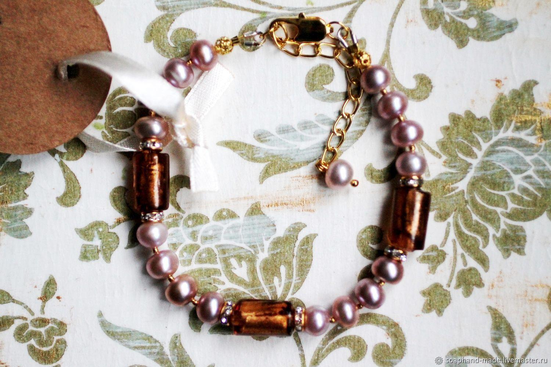 Bracelet No. №7, lavender pearls, lampwork beads, Bead bracelet, Moscow,  Фото №1