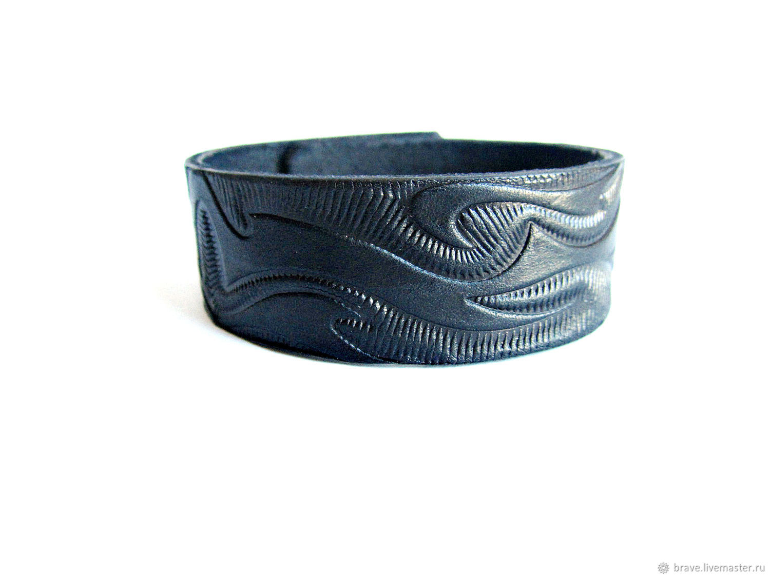 Jewelry for Men handmade. Livemaster - handmade. Buy Men's bracelet black leather embossed abstract pattern.Leather jewelry