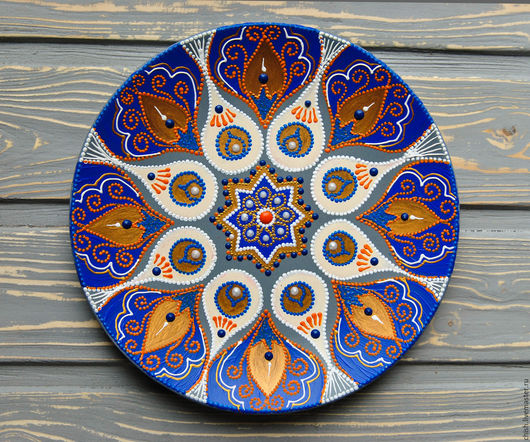 декоративная тарелка, восточный стиль, бохо шик, точечная роспись тарелок, роспись контурами, декор на стену, подарок ручной работы, восточный орнамент