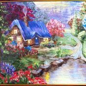 """Картины и панно ручной работы. Ярмарка Мастеров - ручная работа картина из шерсти """"домик у озера"""". Handmade."""