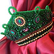 Tiaras handmade. Livemaster - original item Green headdress with garnets and malachite. Handmade.