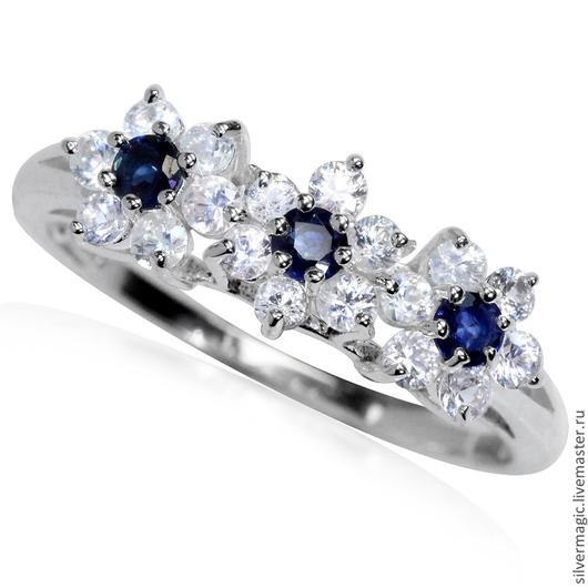 Кольца ручной работы. Ярмарка Мастеров - ручная работа. Купить Серебряное кольцо с сапфирами.. Handmade. Тёмно-синий, натуральный