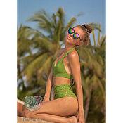 Одежда ручной работы. Ярмарка Мастеров - ручная работа Зелёный купальник связанный крючком. Handmade.
