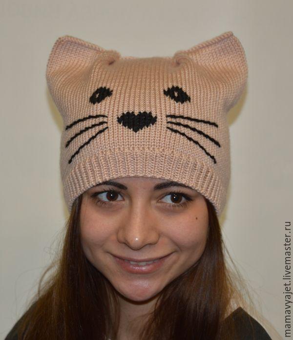 связать шапку кошку