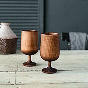 Посуда handmade. Livemaster - original item Set of wooden wine glasses made of Siberian cedar wood (2 pcs) GN7. Handmade.