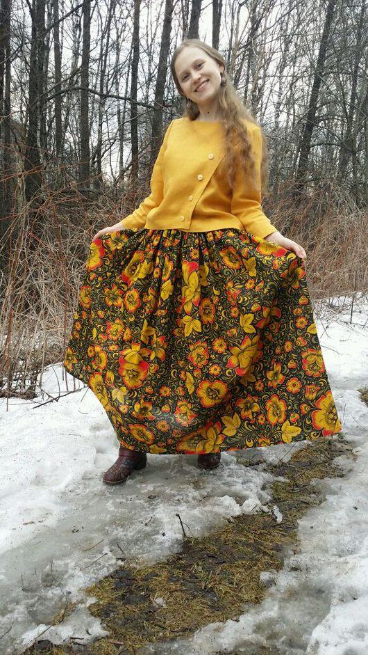 """Этническая одежда ручной работы. Ярмарка Мастеров - ручная работа. Купить Юбка """"Хохлома"""". Handmade. Юбка, натуральная юбка, молния"""