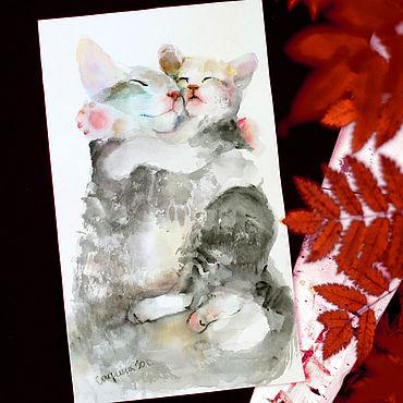 Картины и панно ручной работы. Ярмарка Мастеров - ручная работа Мама кошка  акварельный рисунок. Handmade.