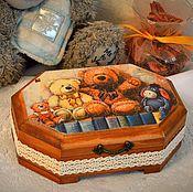 """Для дома и интерьера ручной работы. Ярмарка Мастеров - ручная работа Шкатулка """"Мишутки"""", подарок девочке. Handmade."""